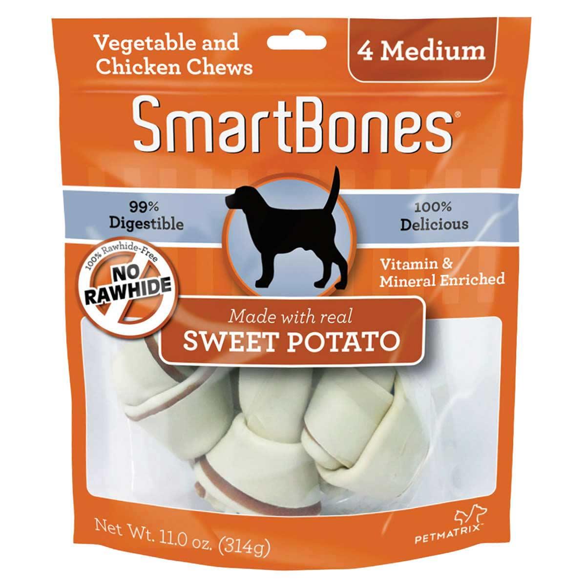 SmartBones Sweet Potato Bone 5.5 inch Medium 4 Pack - Alternative to Rawhide