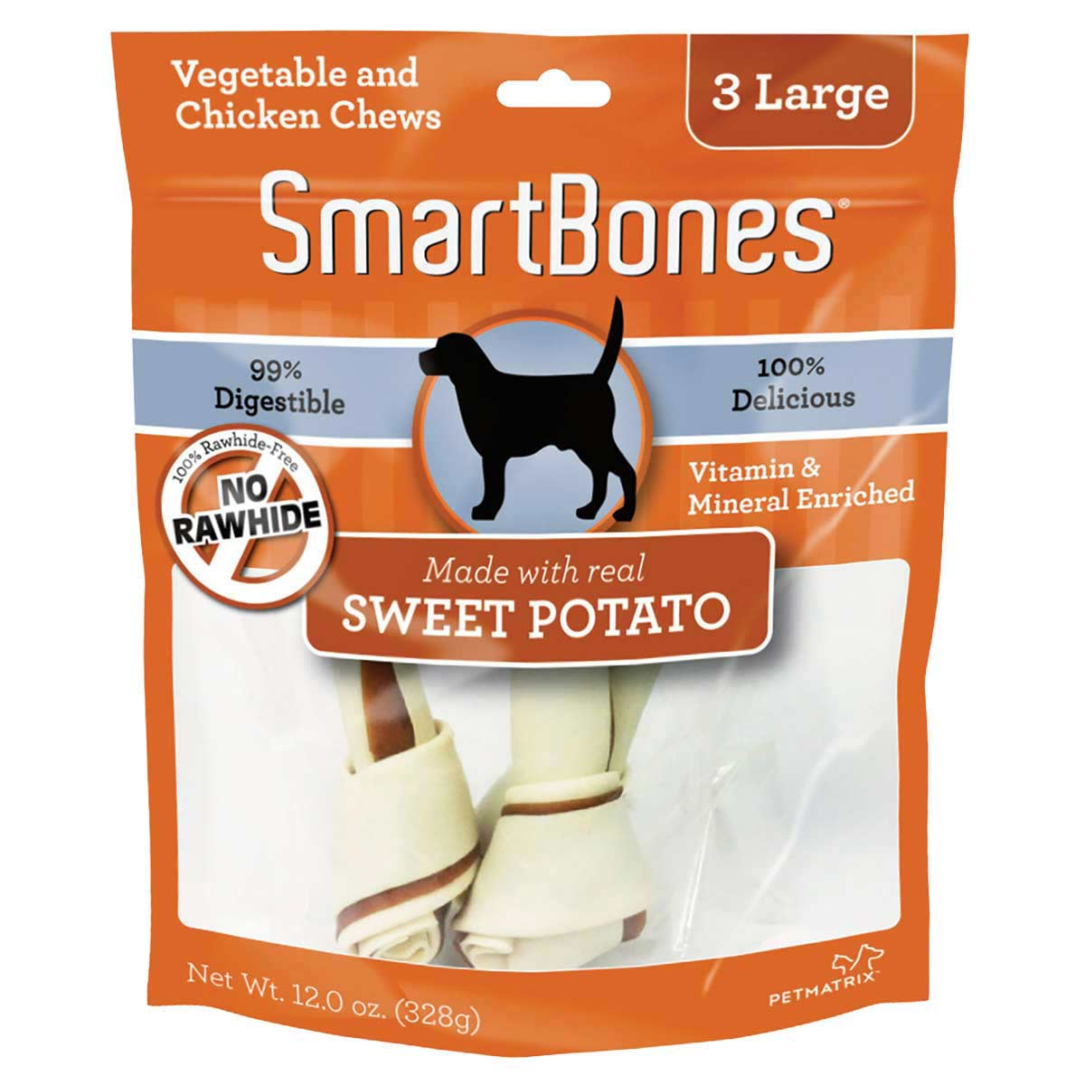 Rawhide Alternative SmartBones Sweet Potato Bone Chews for Dogs - 7 inch Large 3 Pack