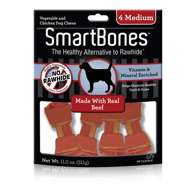 SmartBones Medium Beef Vegetable and Chicken Chews for Dogs - 4 Pack