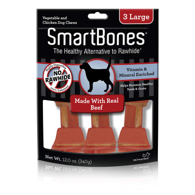 SmartBones 3 Pack Large Beef Rawhide Alternative Chews for Dogs
