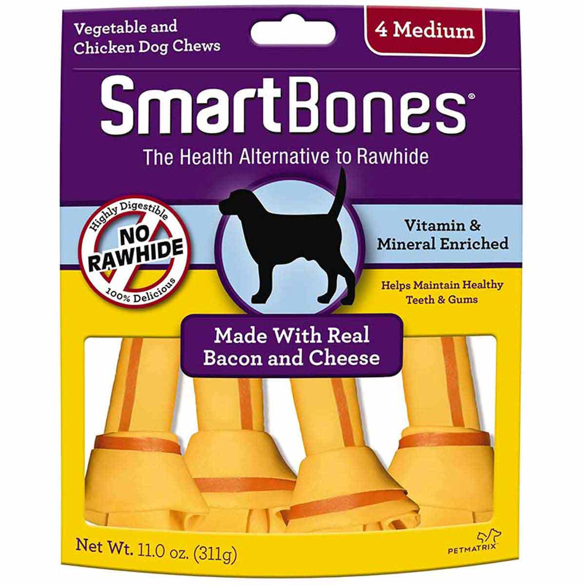 Medium SmartBones Bacon and Cheese 4 Pack Dog Chews at Ryan's Pet Supplies