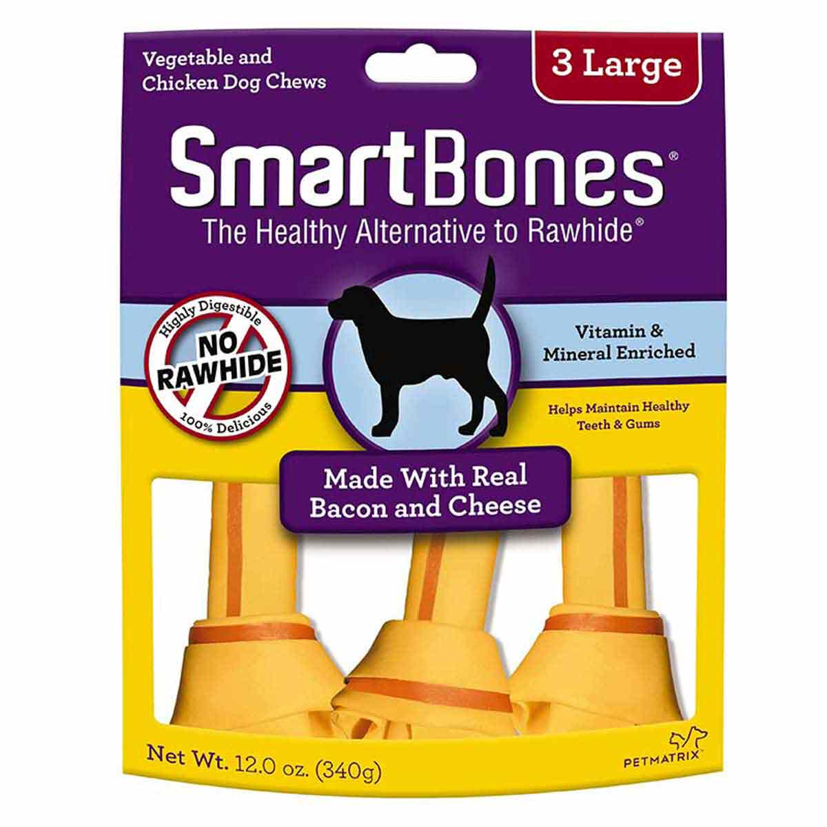 Large SmartBones Bacon and Cheese 3 Pack Dog Chews available at Ryan's Pet Supplies