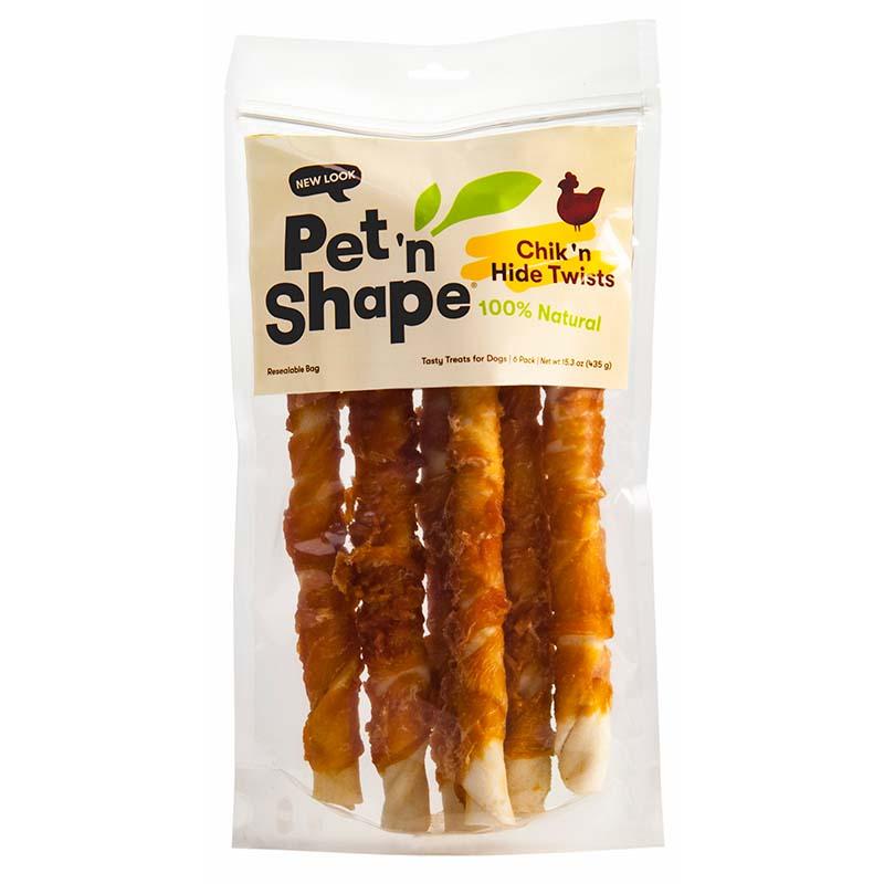 Pet 'n Shape Chicken Rawhide Twists in Packaging