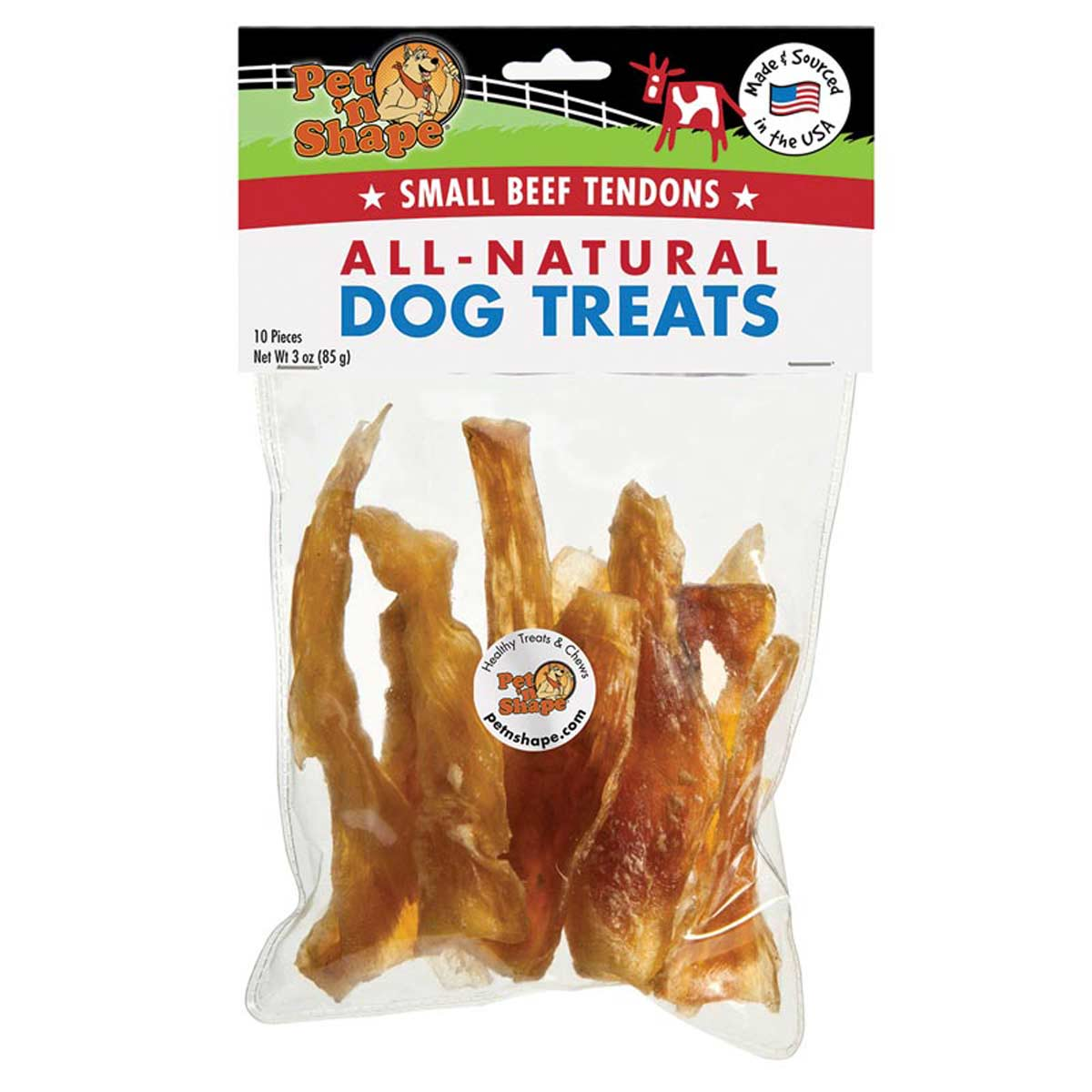 Pet 'n Shape All-Natural Dog Chewz Small Tendon 10 Pack Bag