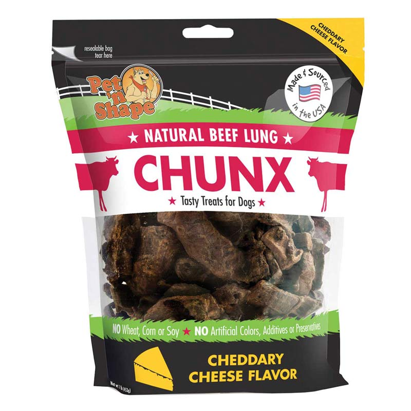 Pet 'n Shape Natural Beef Lung Chunx Cheese Tasty Treats for Dogs 1 lb