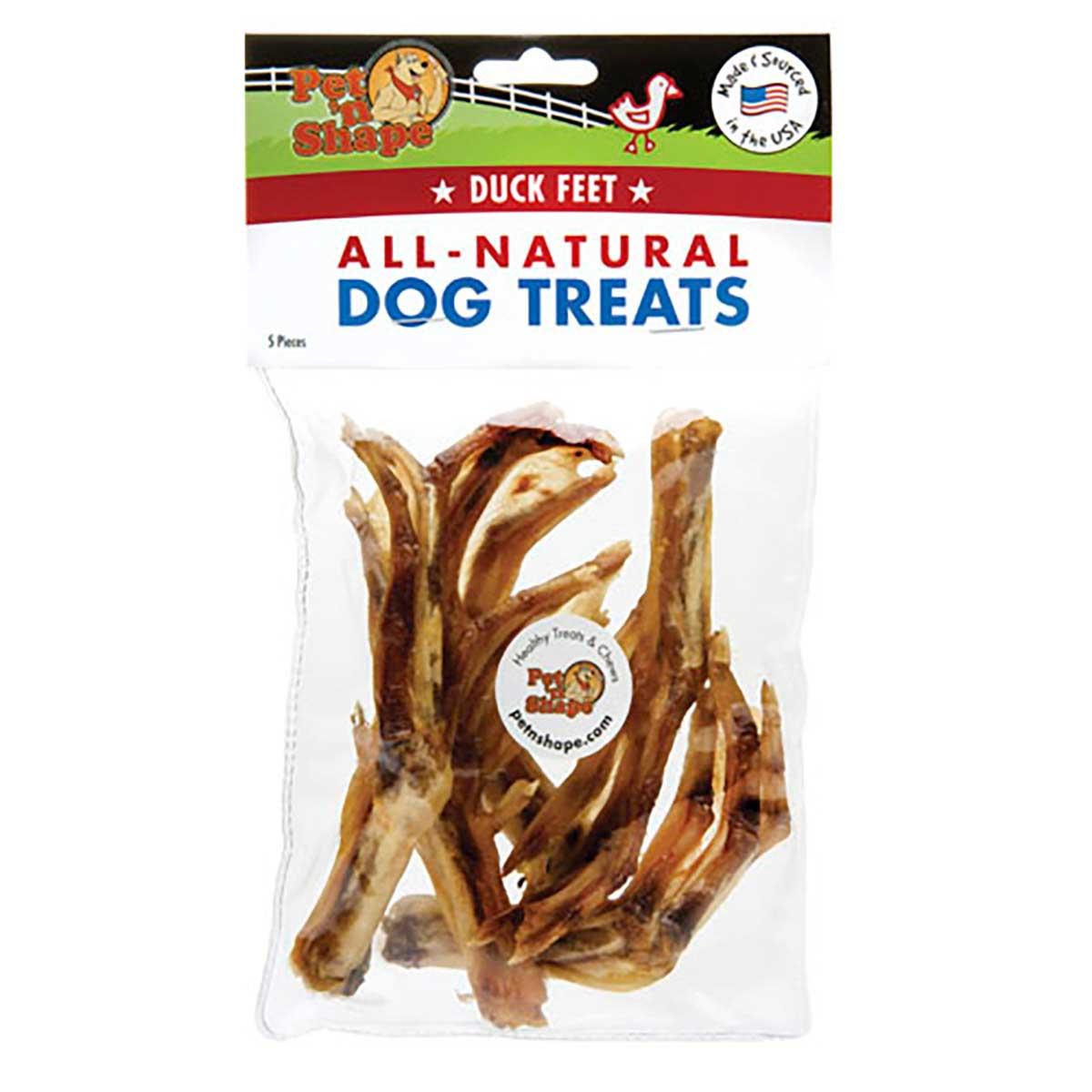 Pet 'n Shape Natural Duck Feet Dog Treats 5 Pack Bag