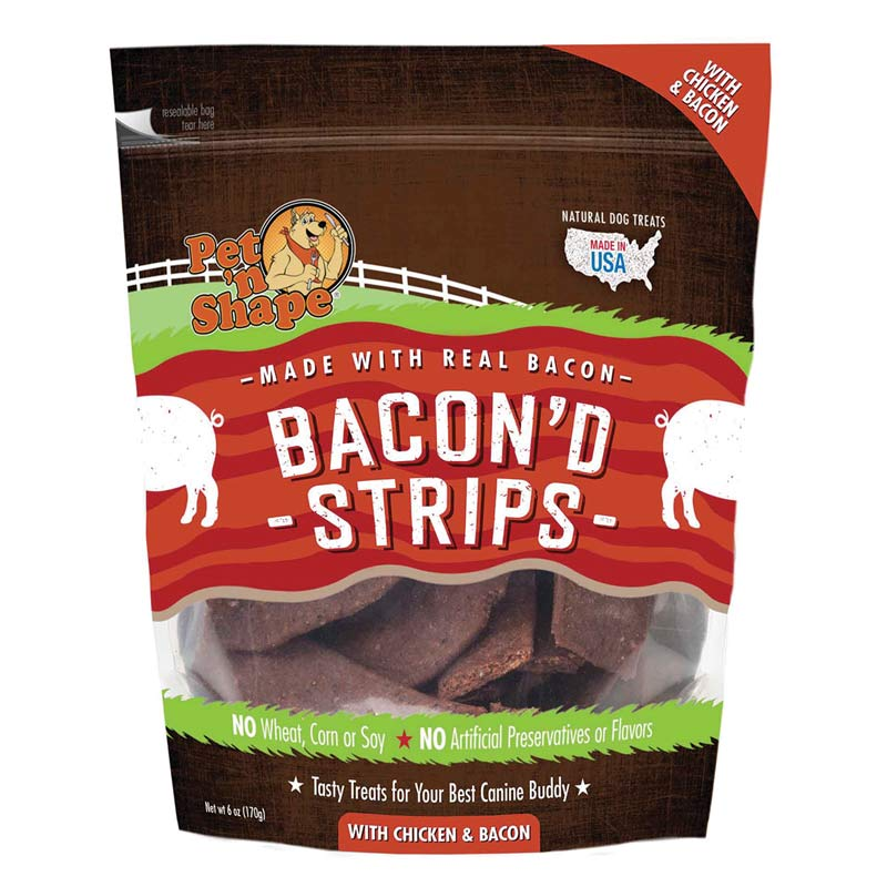 Pet 'n Shape Bacon'd Strips with Chicken & Bacon for Dogs 6 oz Bag