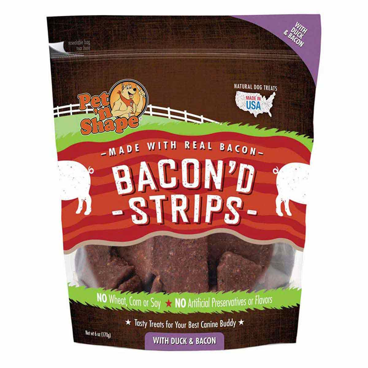 Pet 'n Shape Duck & Bacon Bacon'd Strips Treats for Dog 6 oz Bag