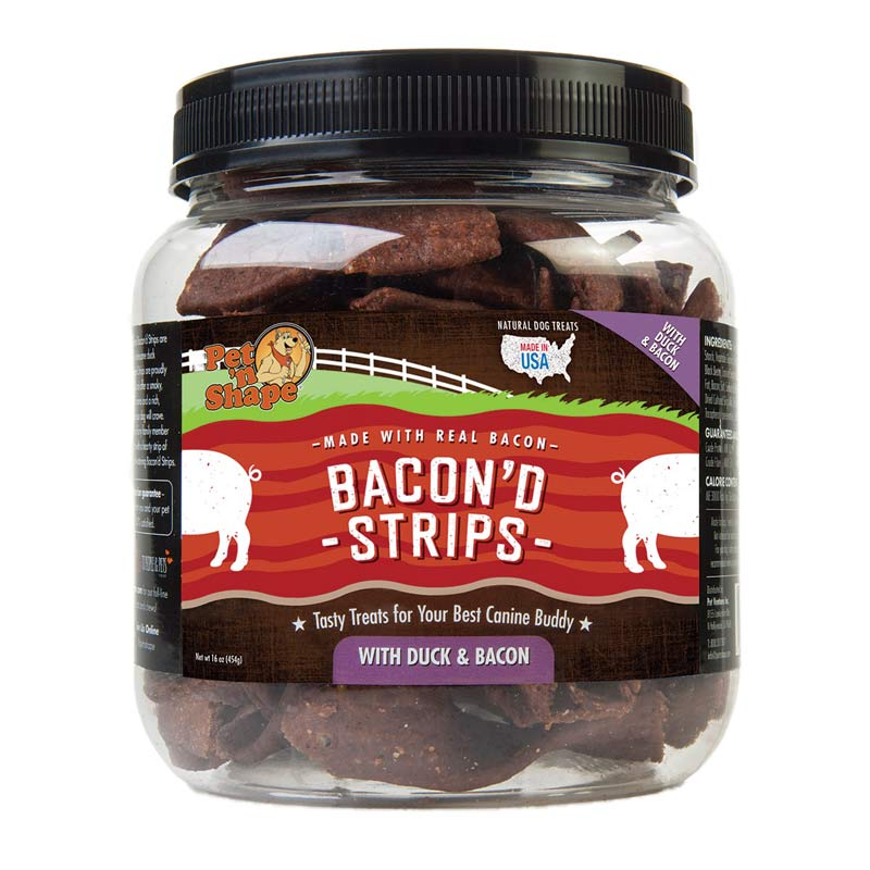 Pet 'n Shape Bacon'd Strips with Duck and Bacon Treats for Dogs 1 lb Tub