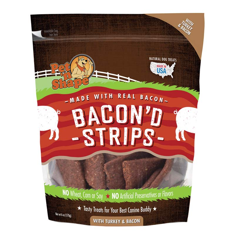 Pet 'n Shape Bacon'd Strips with Turkey & Bacon 6 oz Bag Treats for Dogs