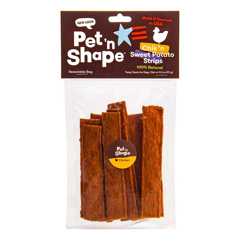 3 oz Pet 'N Shape Chik 'N Sweet Potato Strips available at Ryan's Pet Supplies
