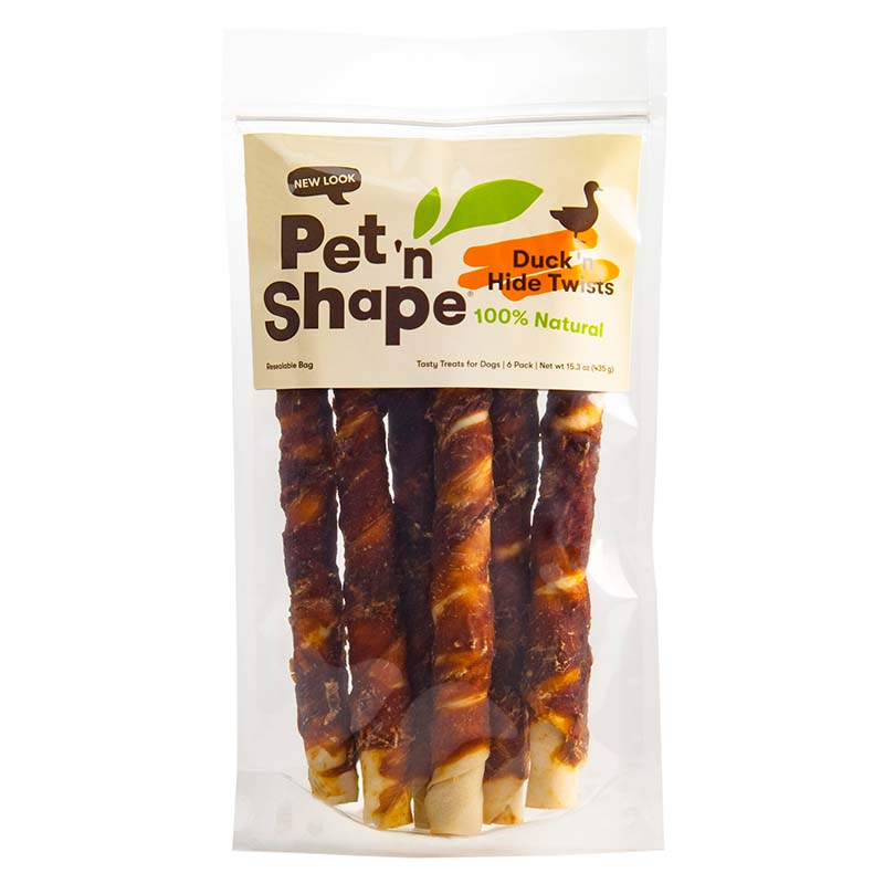 """Pet 'n Shape Duck RawHide Twists for Dogs Large 10"""" 6 pack"""