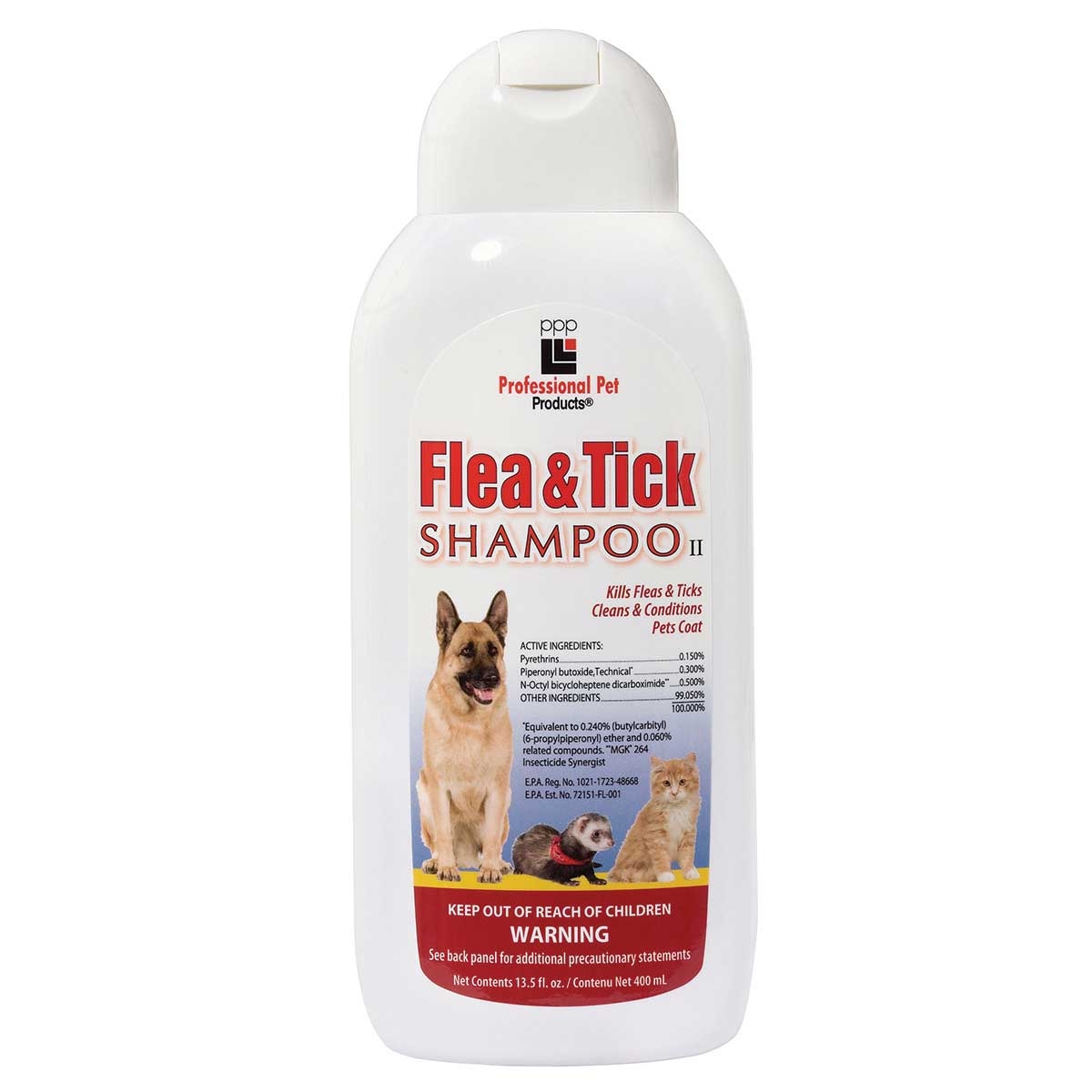 Professional Pet Products Flea & Tick 12:1 Shampoo for Dogs and Cats 13.5 oz