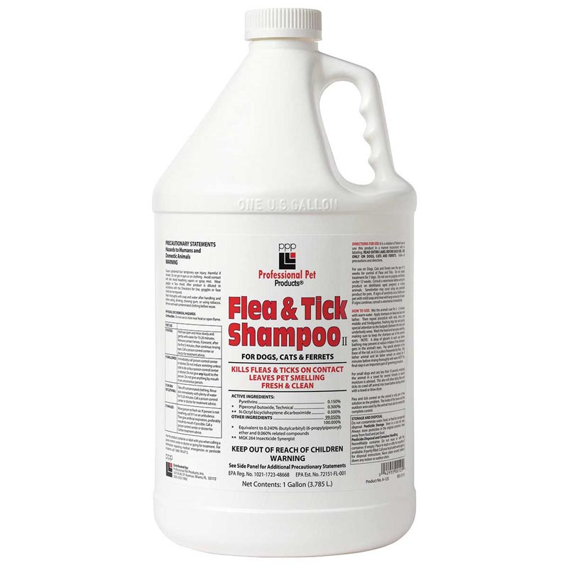 Professional Pet Products Flea & Tick Shampoo II for Dogs, Cats and Ferrets Gallon