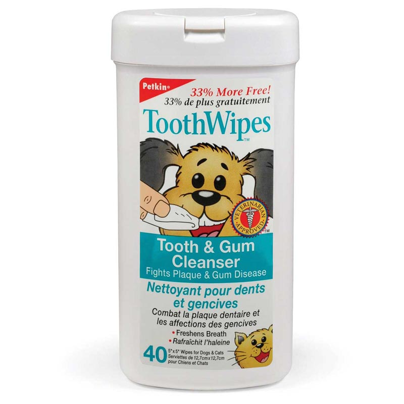 Petkin Tooth Wipes - Cleanse Dog Teeth and Gums