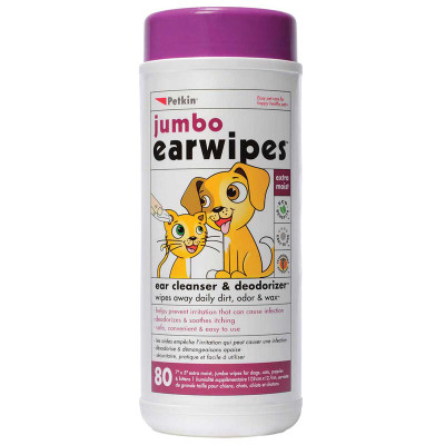 Petkin Ear Wipes for Cats and Dogs - 80 Count