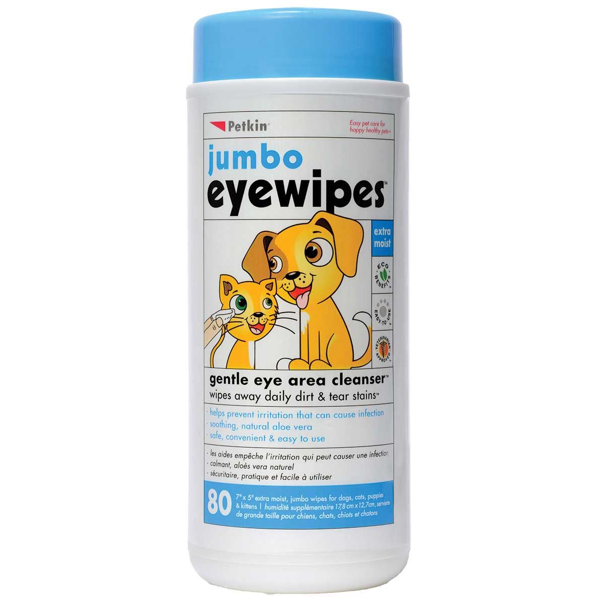 Petkin Jumbo Eye Wipes 80 Count