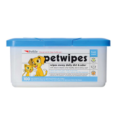 Petkin Pet Wipes to clean away dirt 100 Count