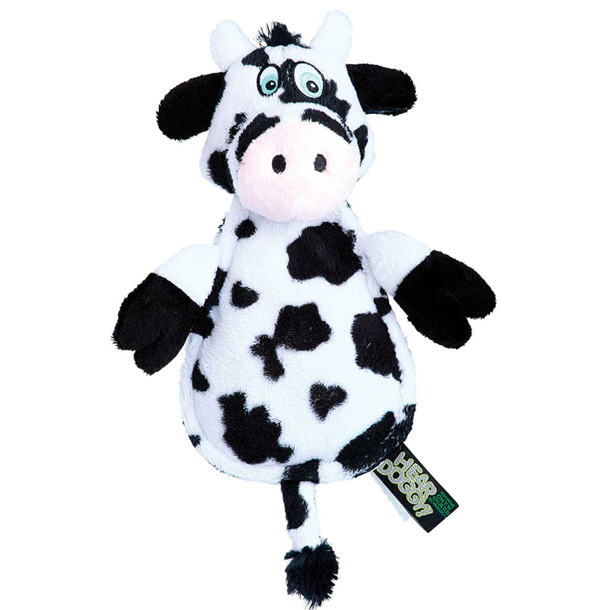 Hear Doggy Flat Cow 7 inch with Chew Guard Technology Dog Toy