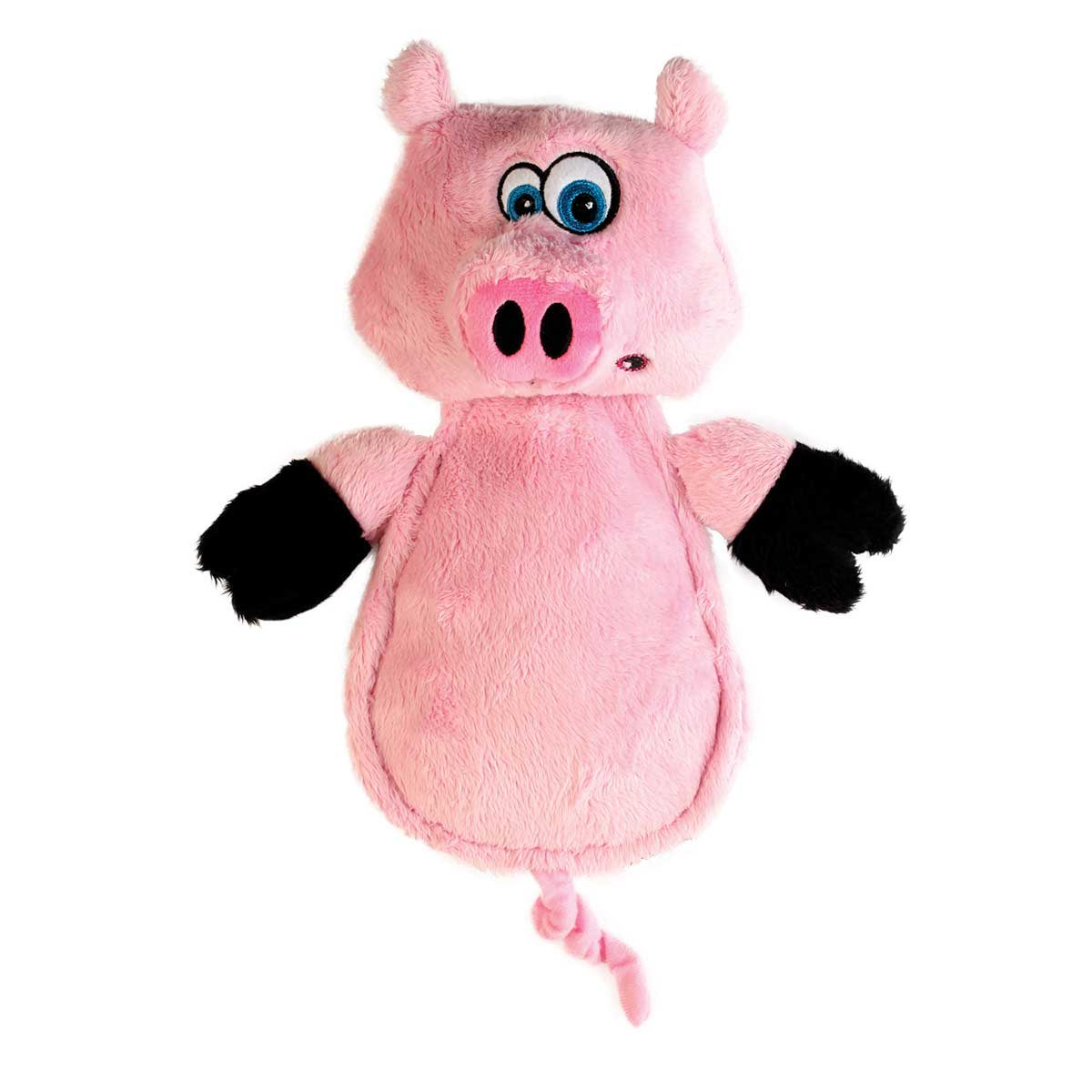 Hear Doggy Flat Pig 7 inch Stuffed Dog Toy with Chew Guard Technology