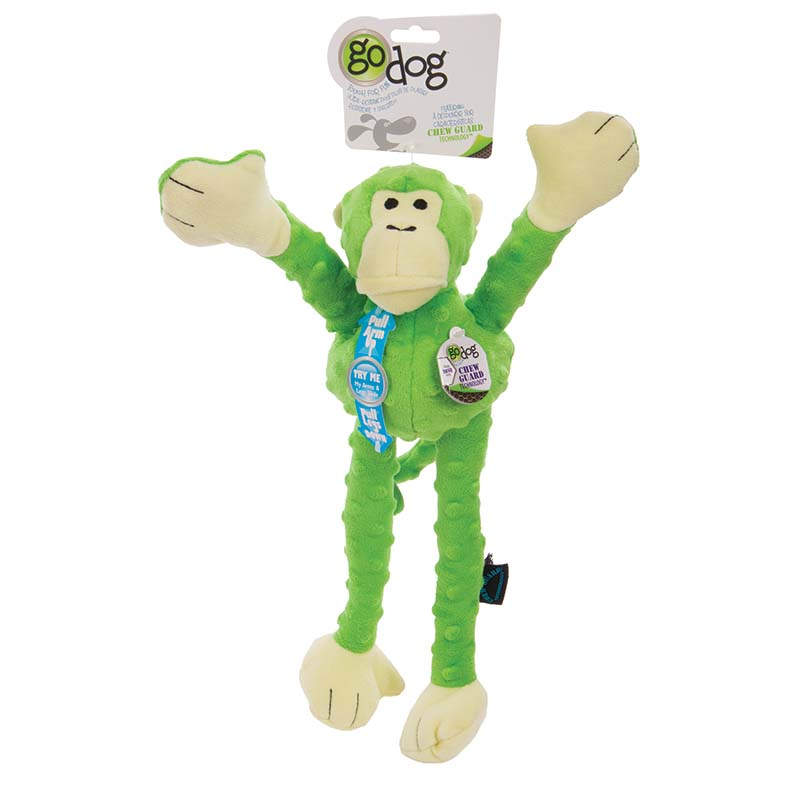 Green GoDog Crazy Tugs Monkey Tug Toy at Ryan's Pet Supplies