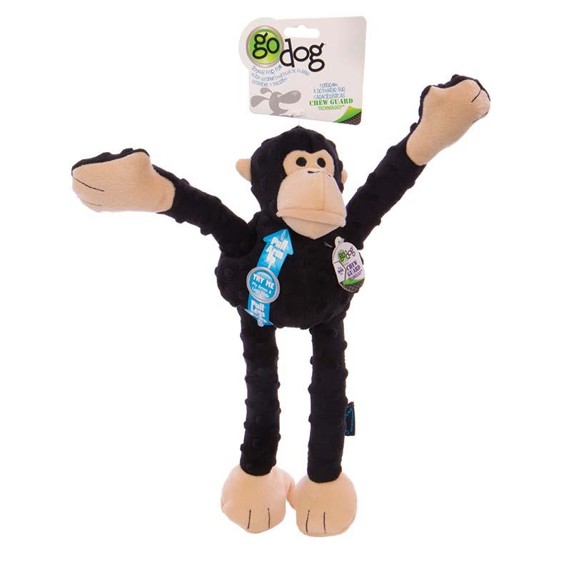 Black GoDog Crazy Tugs Monkey Dog Toy at Ryan's Pet Supplies