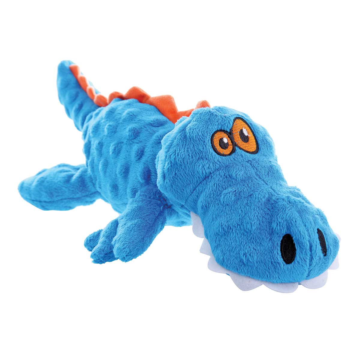 goDog Just For Me Blue Gator Dog Toy With Chew Guard