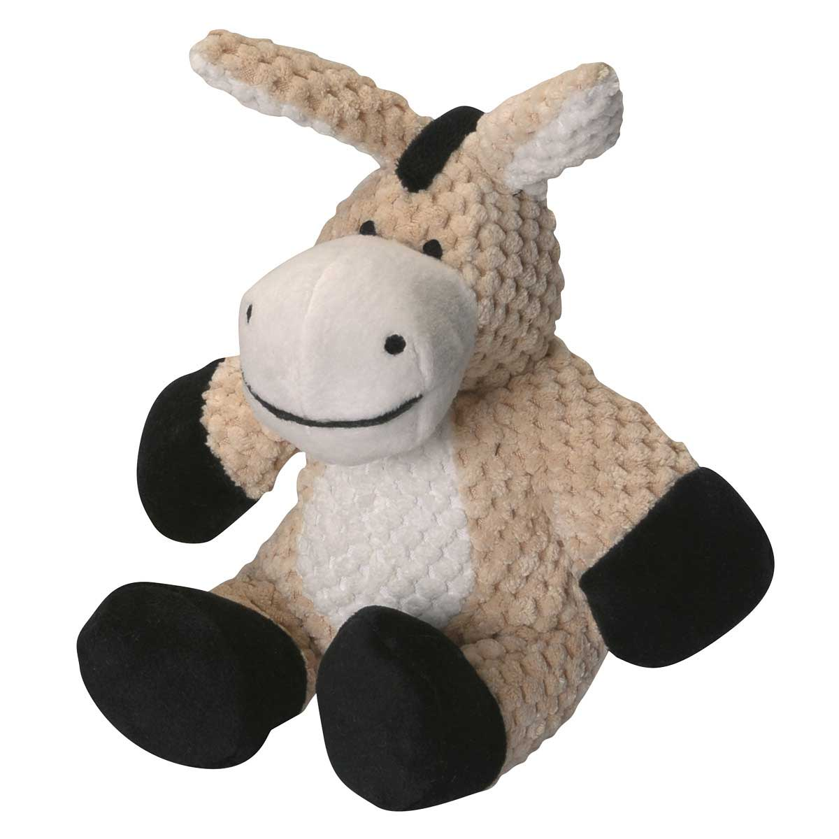 goDog Checkers Small Stuffed Donkey Toy for Dogs 6.5 inch