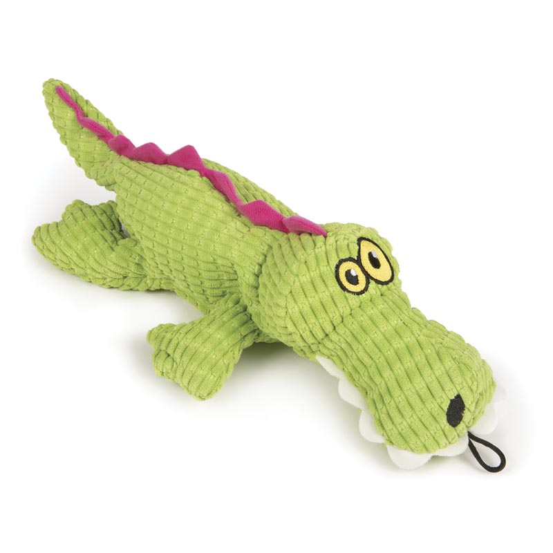 Side view of TrustyPup Gator Stuffed Dog Toy with a Silent Squeaker