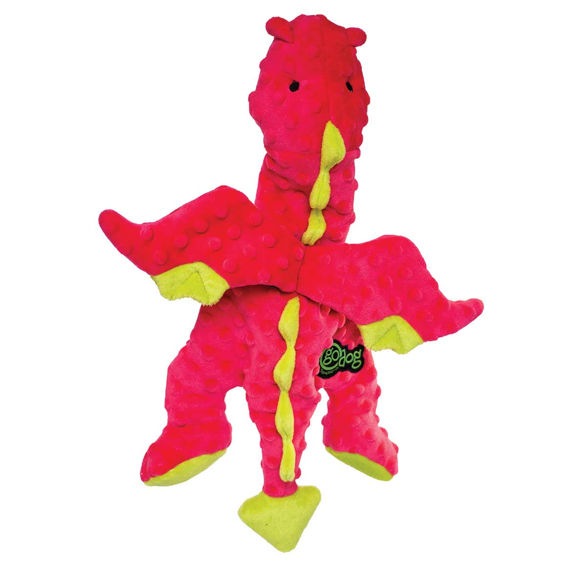 goDog Large Coral Dragon with Chew Guard Dog Toy