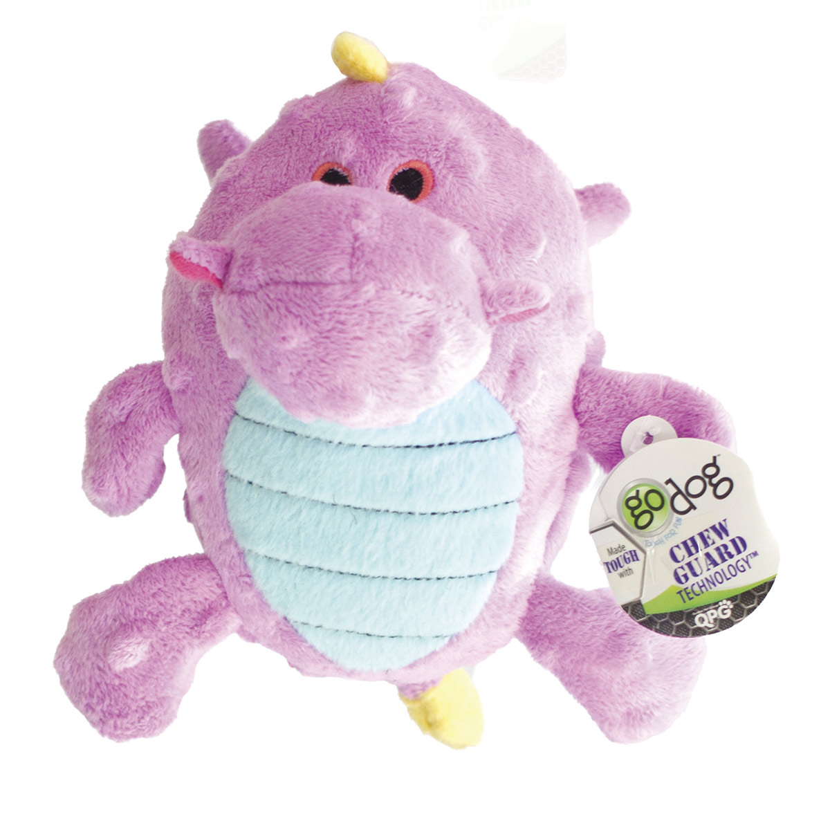 Small Violet goDog Dragons Grunters Dog Toy with Chew Guard