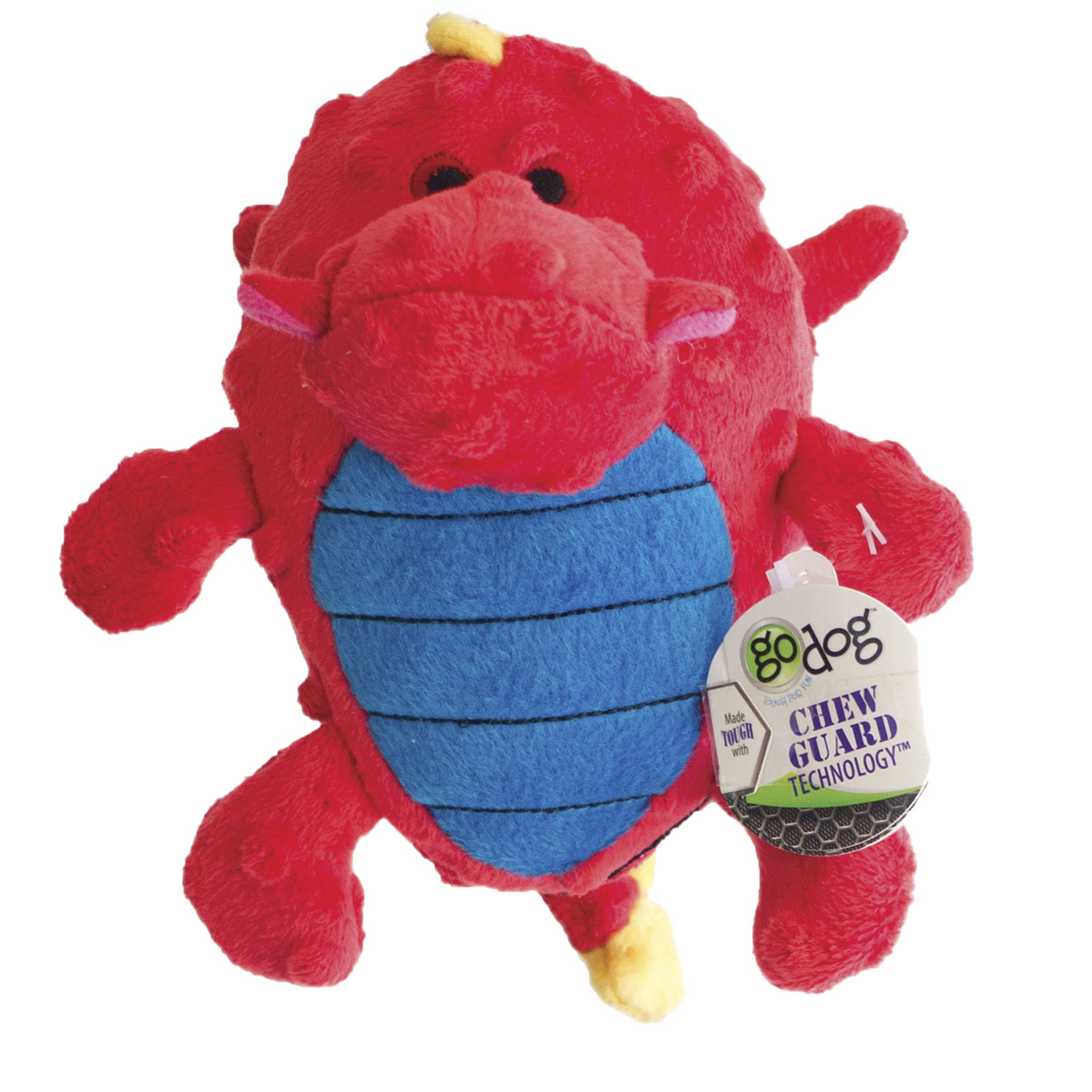 goDog Red Small Dragons Grunting Dog Toy with Chew Guard