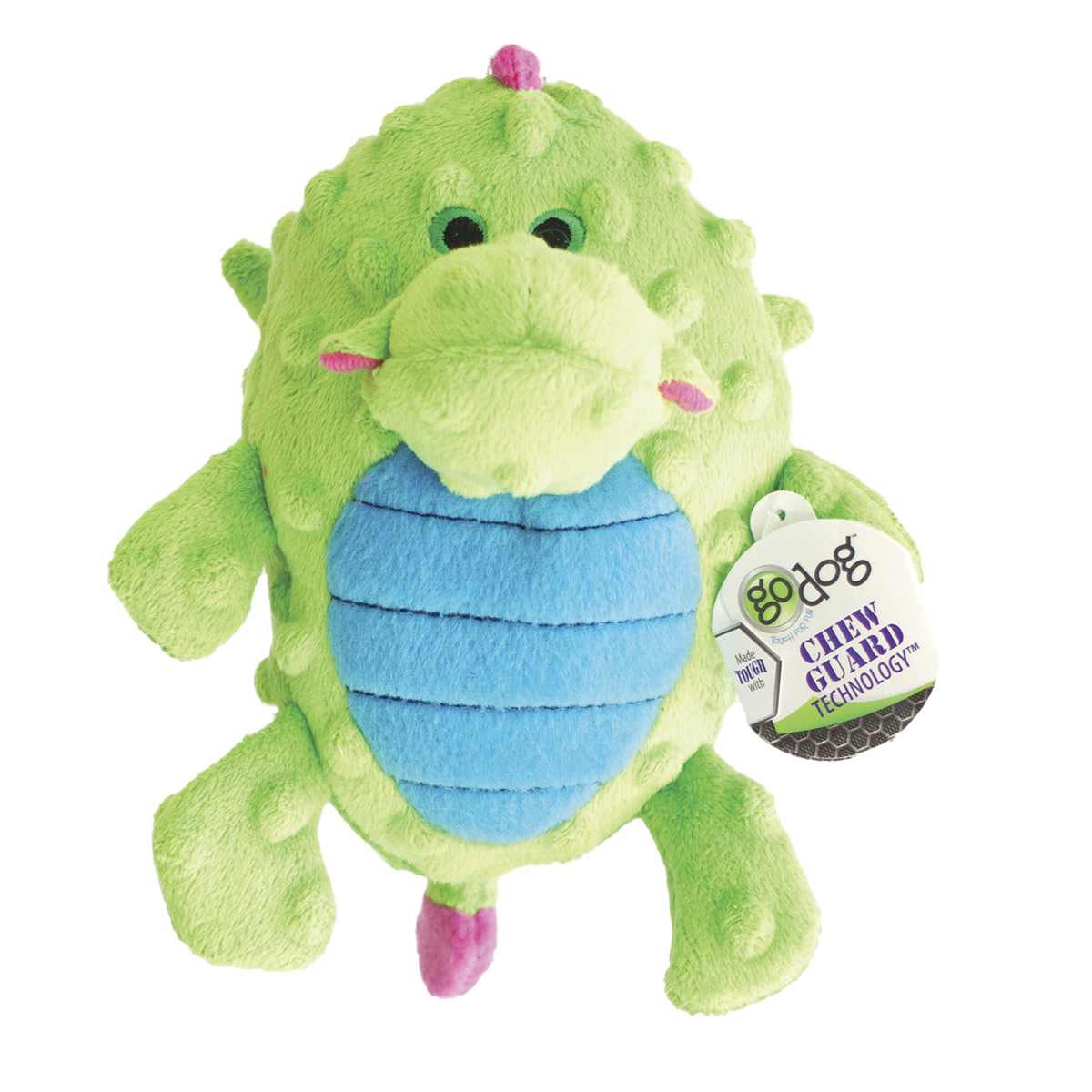 goDog Green Small Grunting Dragons Dog Toy with Chew Guard