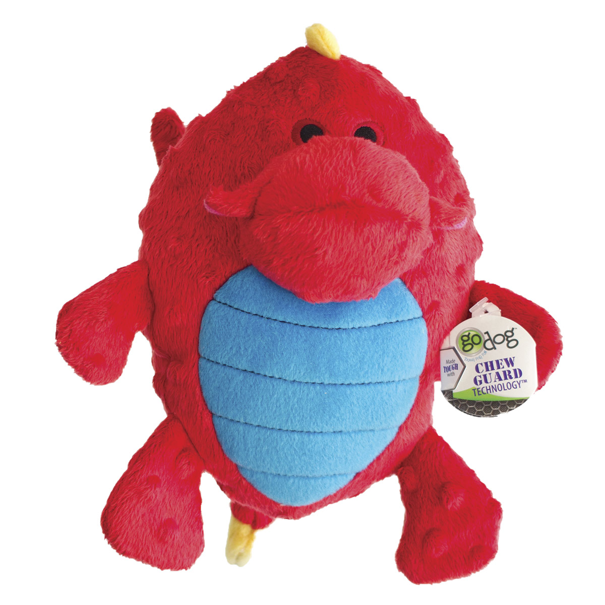goDog Red Large Dragons Grunting Dog Toy with Chew Guard
