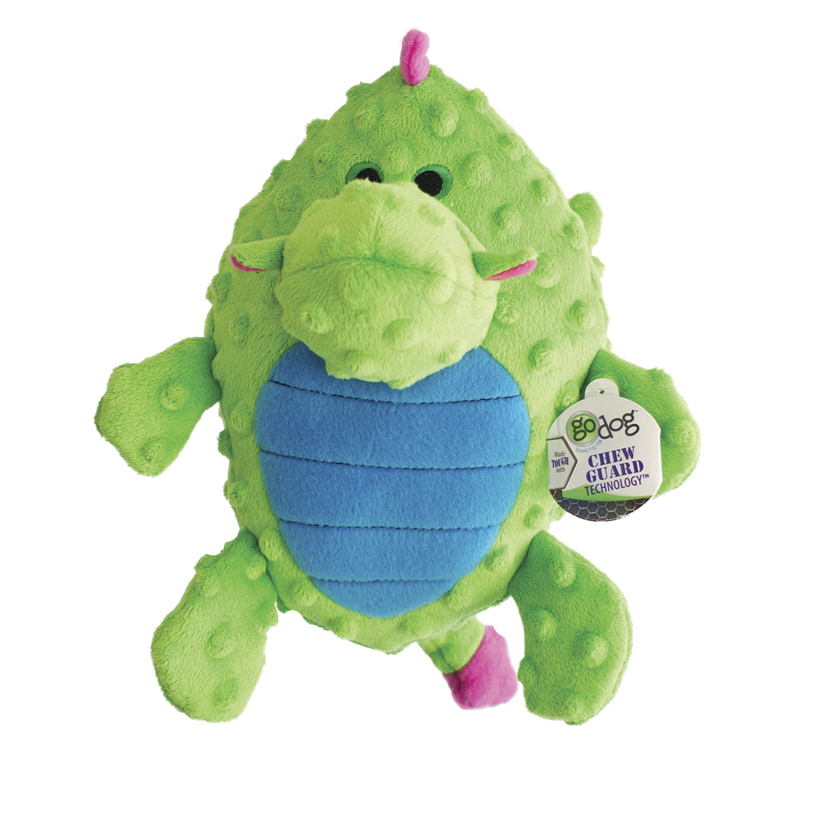 goDog Large Green Grunting Dragon Dog Toy with Chew Guard
