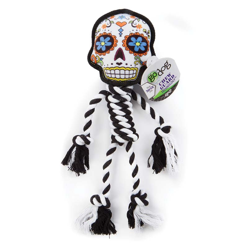 GoDog Sugar Skulls White Rope Tug available at Ryan's Pet Supplies