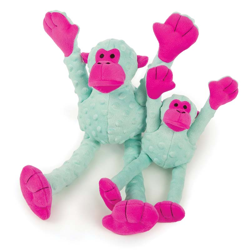Turquoise Pink GoDog Crazy Tugs Monkey Tug Toy at Ryan's Pet Supplies