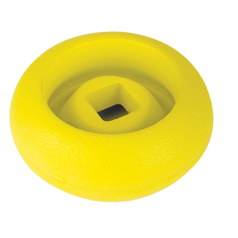 Top of goDog RhinoPlay CIRQ Yellow Fetch Toys for Dogs