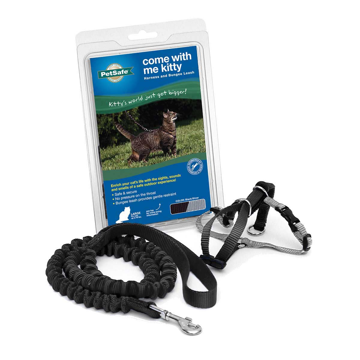 """PetSafe Come With Me Large Black Kitty Harness and Bungee Leash 13"""" - 18"""""""