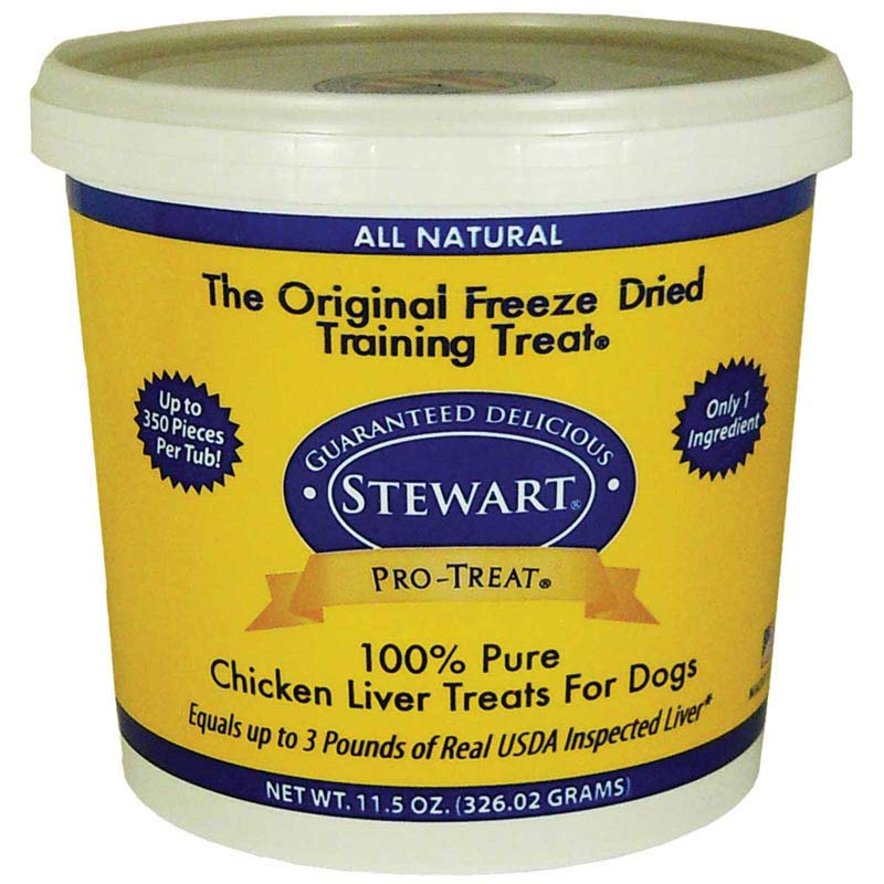11.5 oz Stewart Freeze Dried Chicken Liver Pro-Treats for Dogs