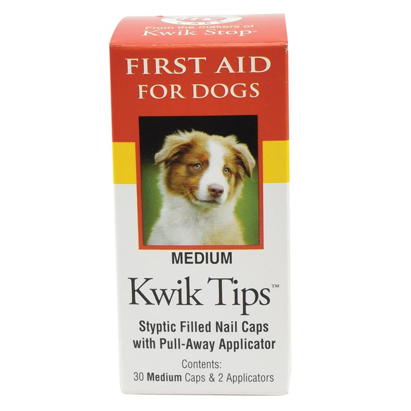 Medium Kwik Tips Styptic Filled Nail Caps with Pull Away Applicator for Dogs