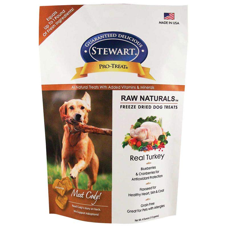 Stewart Pro-Treats Raw Naturals Freeze Dried Real Turkey Dog Treats 4 oz