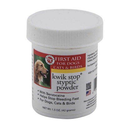 Kwik Stop 1.5 oz Styptic Powder Stop Bleeding Fast on Cats, Dogs, and Birds
