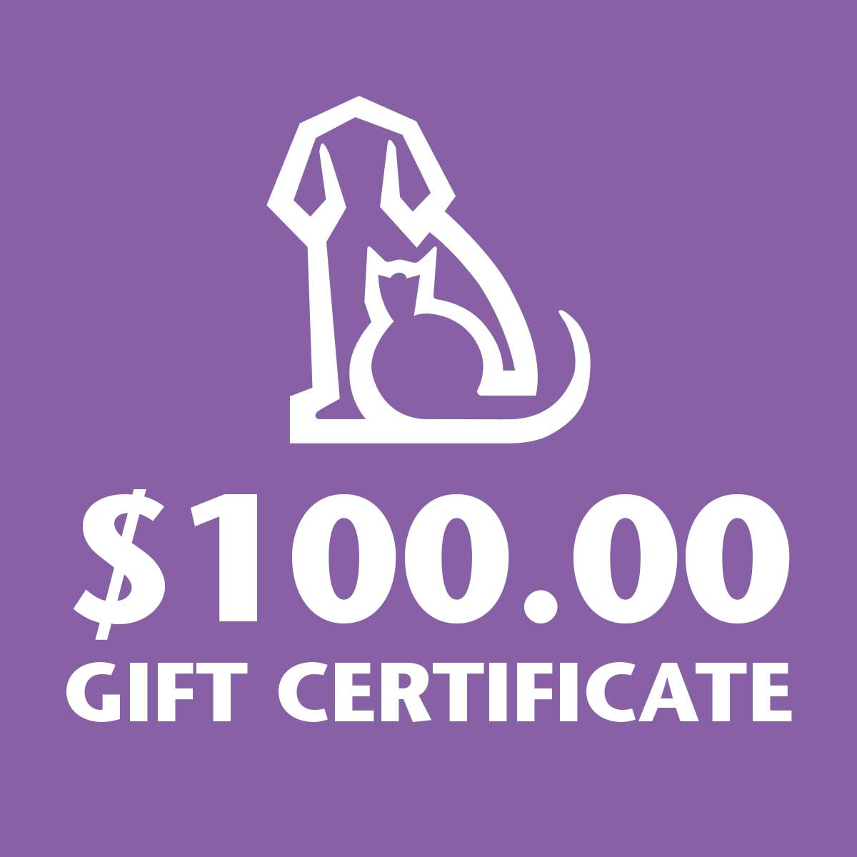 100 Dollar gift certificate to Ryan's Pet Supplies
