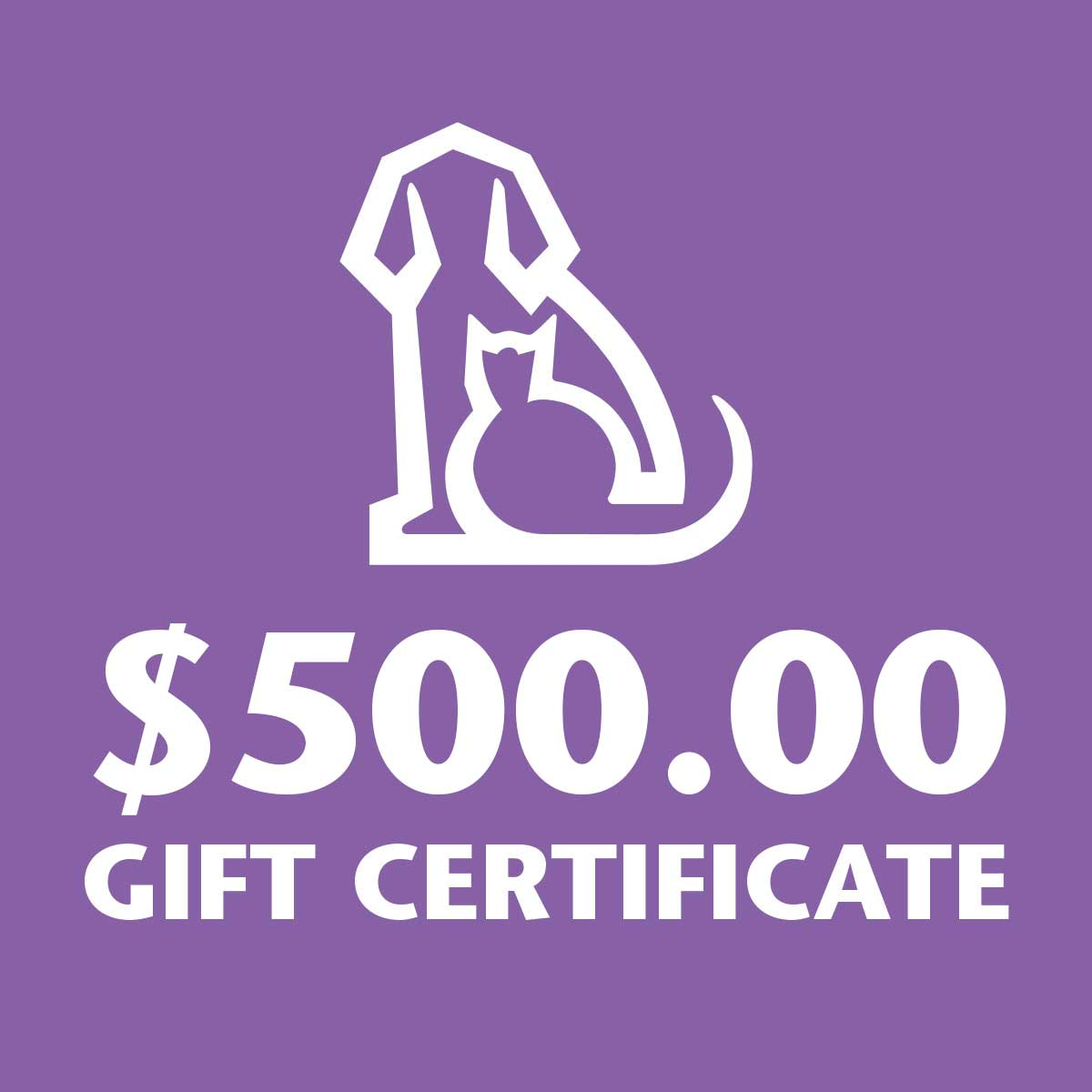 Ryans Pet Supplies 500 Dollar Gift Certificate
