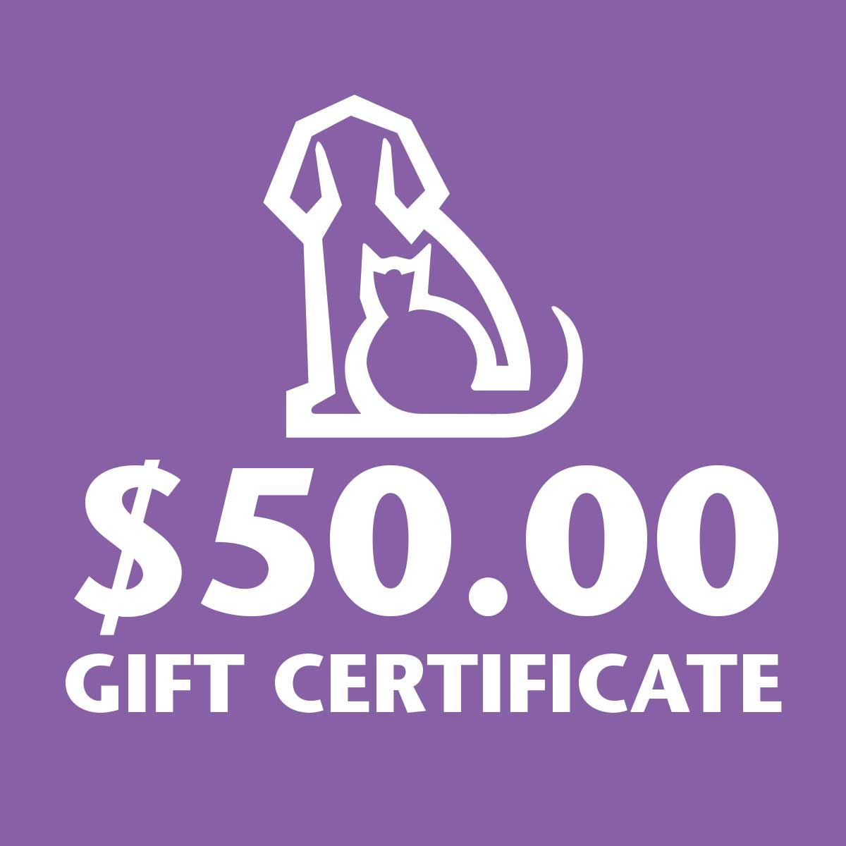 50 Dollar Gift Certificate to Ryans Pet Supplies