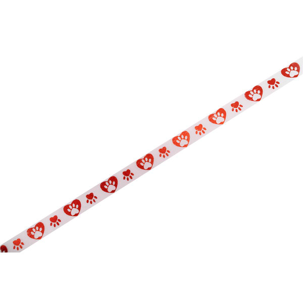 White and Red Hearts and Paws Printed Ribbon
