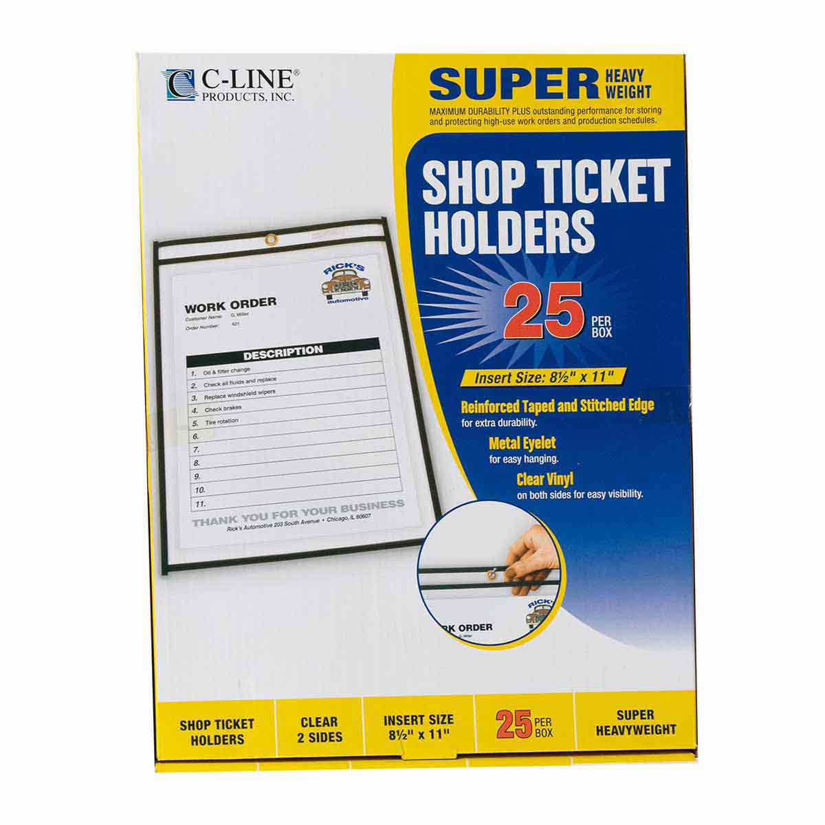 C-Line Shop Ticket Holders Box of 25 8.5 inches by 11 inches