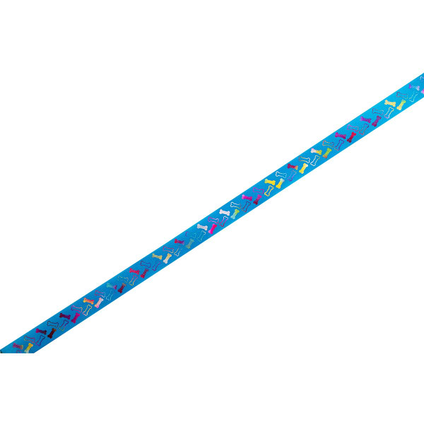 Blue Itty Bitty Bones Confetti Printed Ribbon