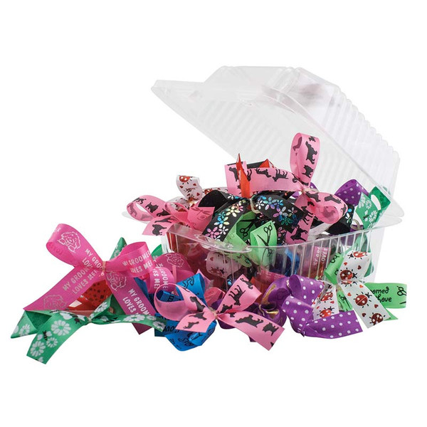 50 Count Fancy Finishes Pre-Tied Bows for Grooming Professionals